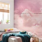 Papier peint nuages roses Cloud Wire 400x250