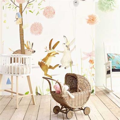 Papier peint chambre bébé Rêveries de jardin 8x8