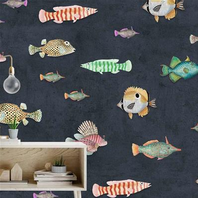 Papier peint design poissons multicolores Aquaticus