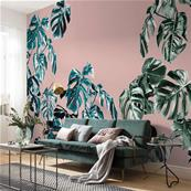 Papier peint salon tendance Monstera rosé 400x250