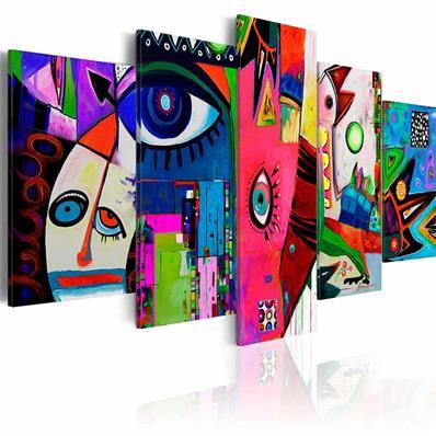 Peinture sur toile multicolore, tableau peinture moderne | Muraem