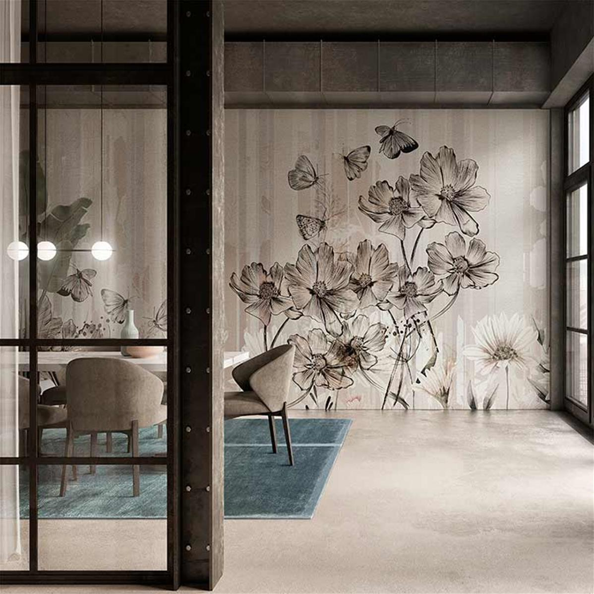 Papier peint fleurs et papillons, papier peint salon beige | Muraem