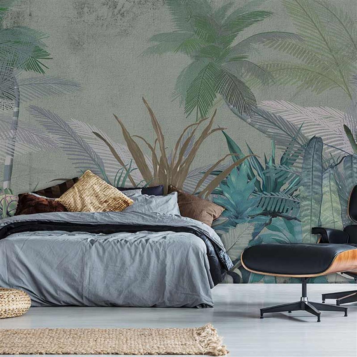 Papier peint jungle chambre sur-mesure, papier peint jungle | Muraem