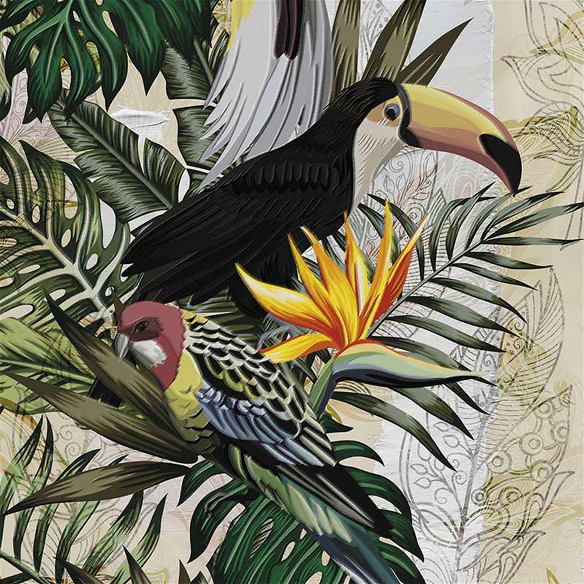 Papier peint tropical toucan, papier peint exotique chic | Muraem