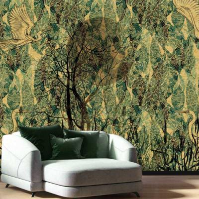 Papier peint design vert et or Air Gold