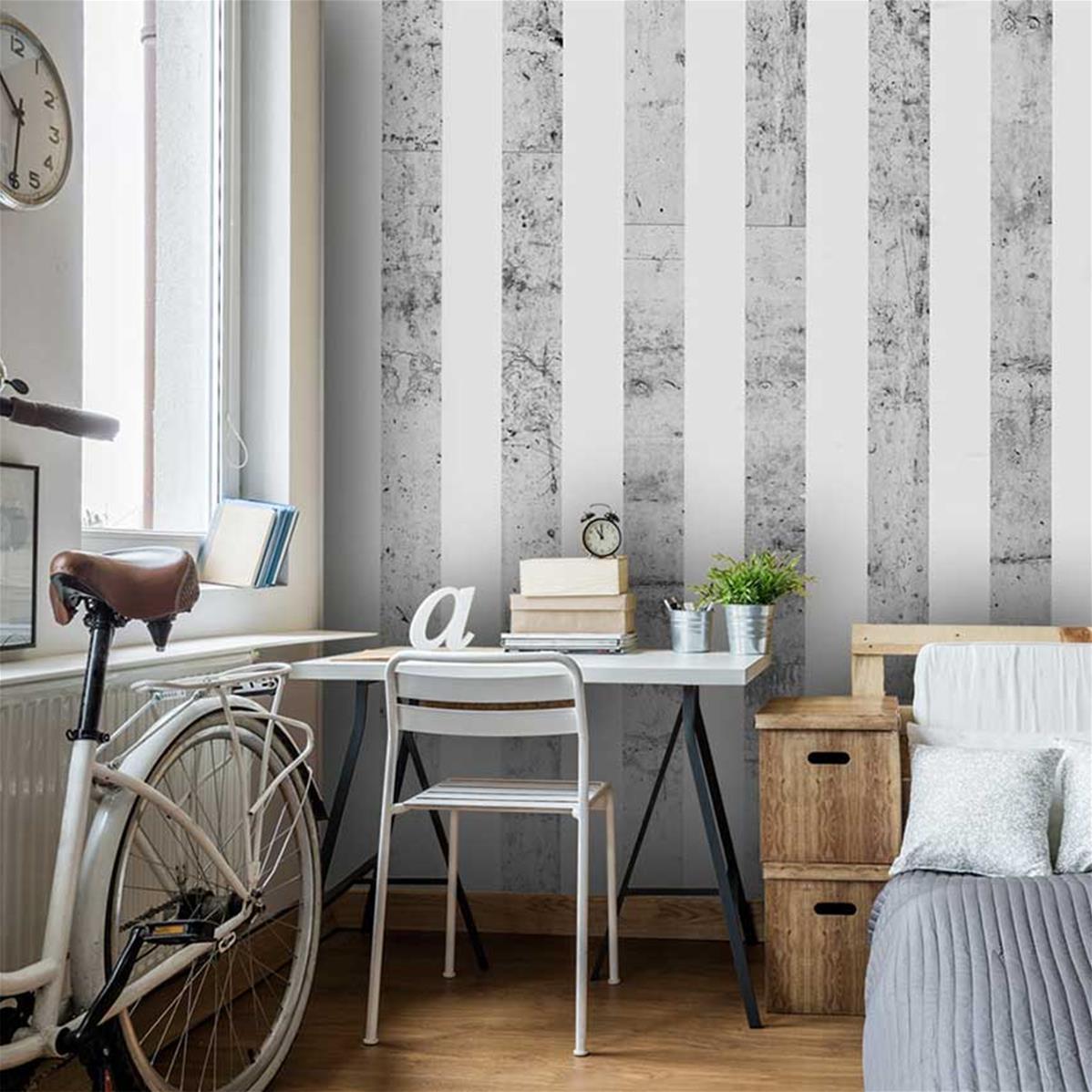 Papier peint gris et blanc, papier peint chambre moderne   Muraem