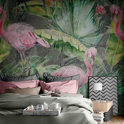 Papier peint tropical luxe Flamingo
