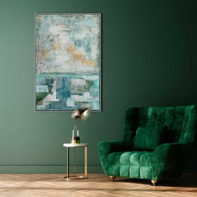 Grand tableau abstrait bleu et vert Abstract in green and blue 122x82