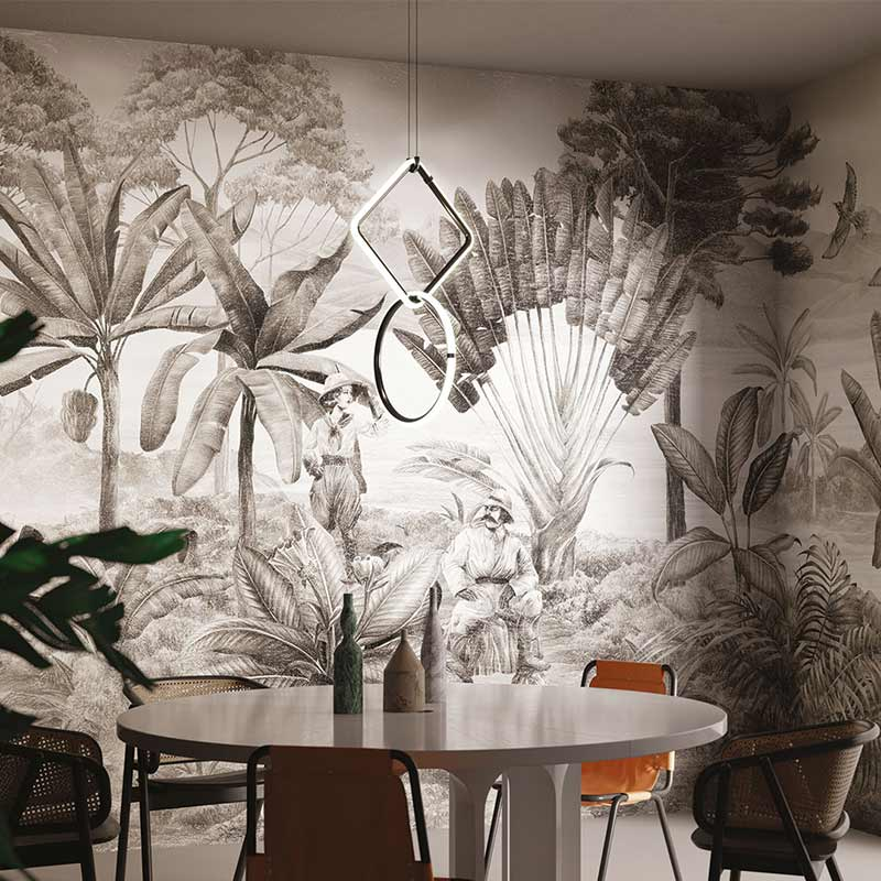 Papier peint jungle grisaille Livingstone