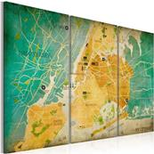 Tableau triptyque carte plan New York City