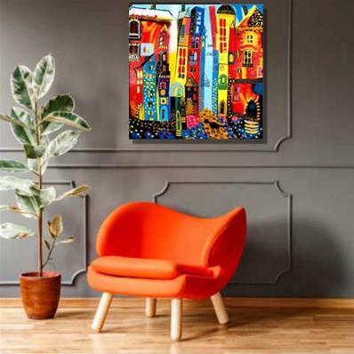 Peinture Sur Toile Multicolore Tableau Colore Original Muraem