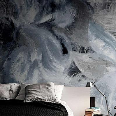 Papier peint design gris et bleu, papier peint chambre adulte   Muraem